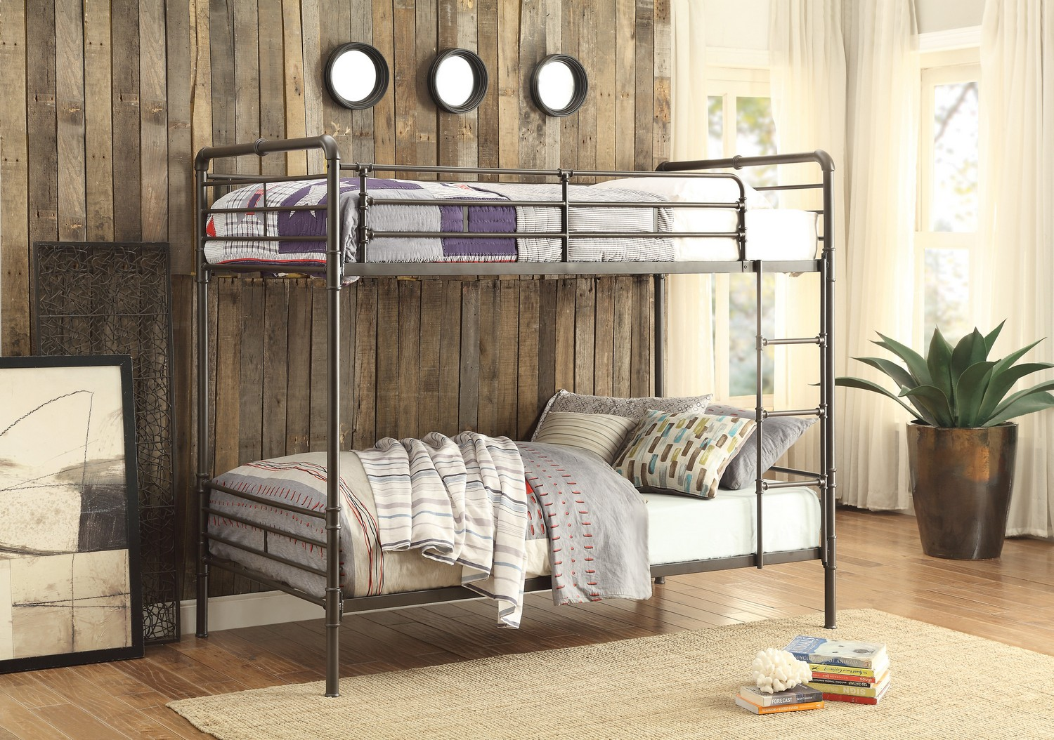 Homelegance Chaney Twin/Twin Bunk Bed - Antique Bronze