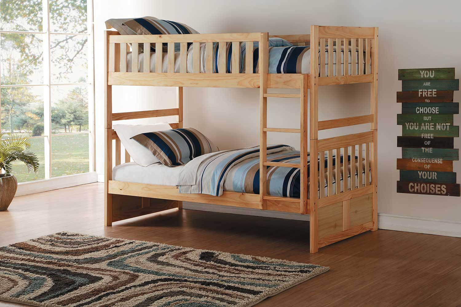 Homelegance Bartly Twin over Twin Bunk Bed - Natural Pine