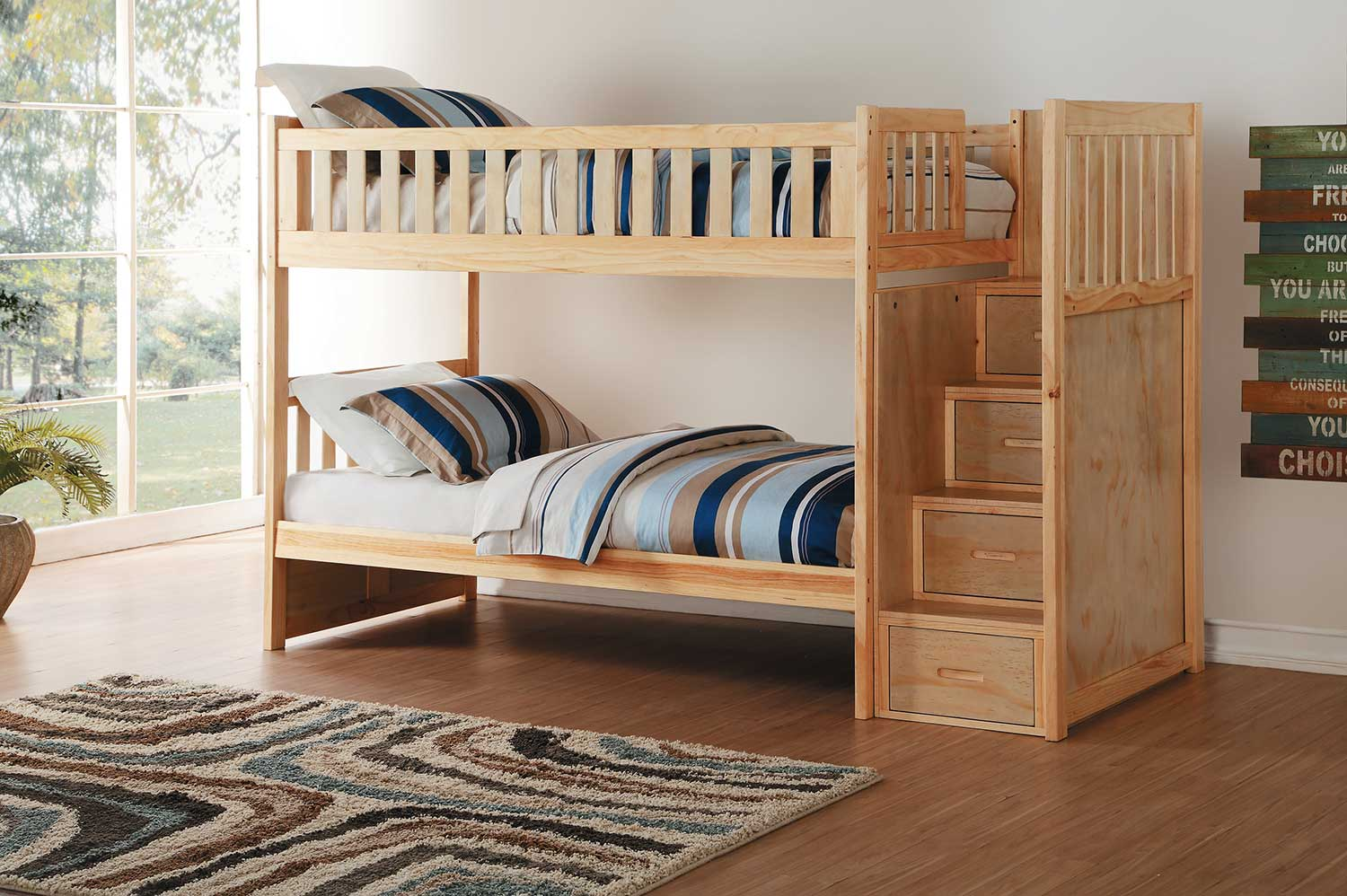 Homelegance Bartly Twin over Twin Bunk Bed with Step Storage - Natural Pine