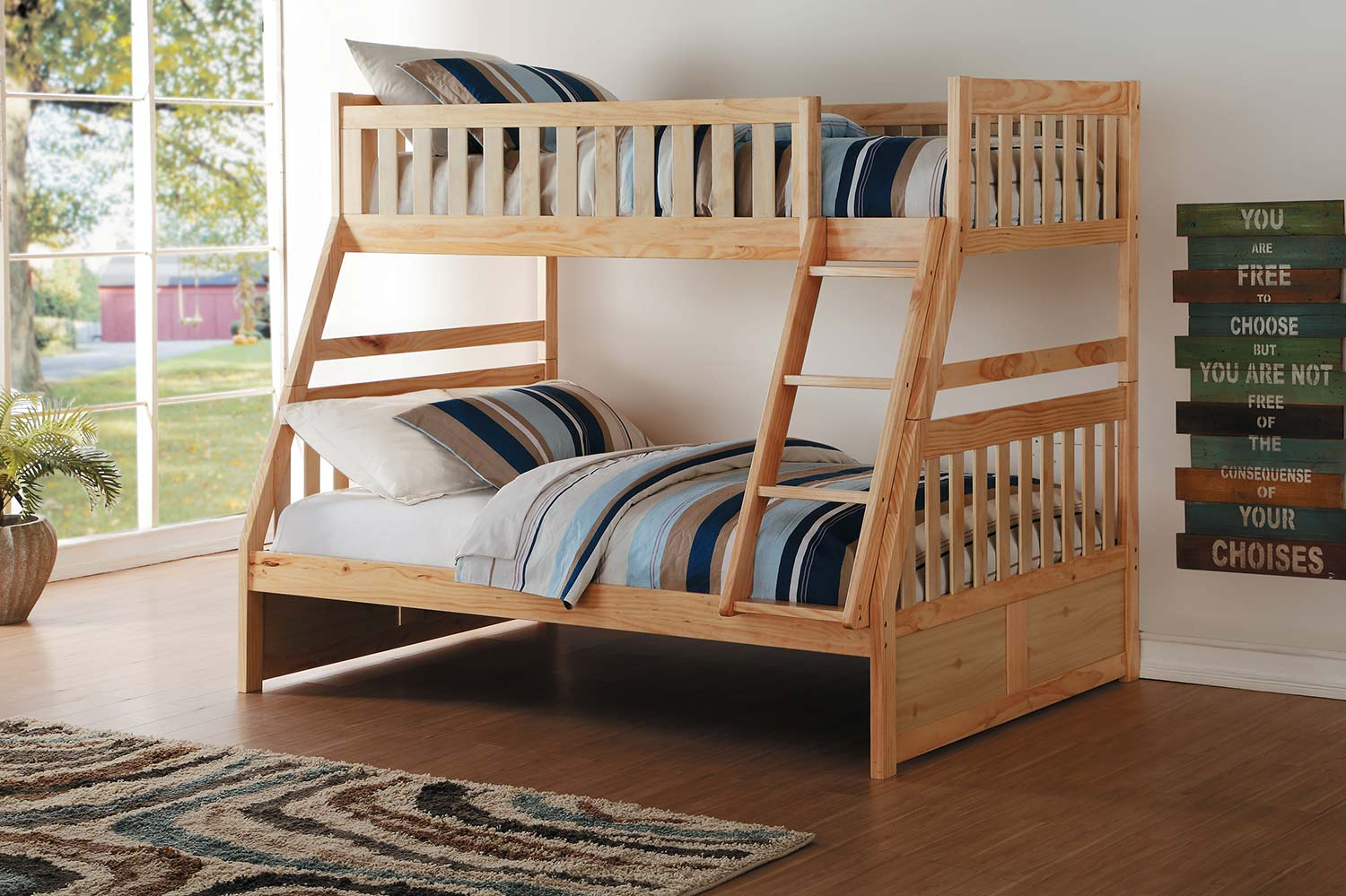 Homelegance Bartly Twin over Full Bunk Bed - Natural Pine