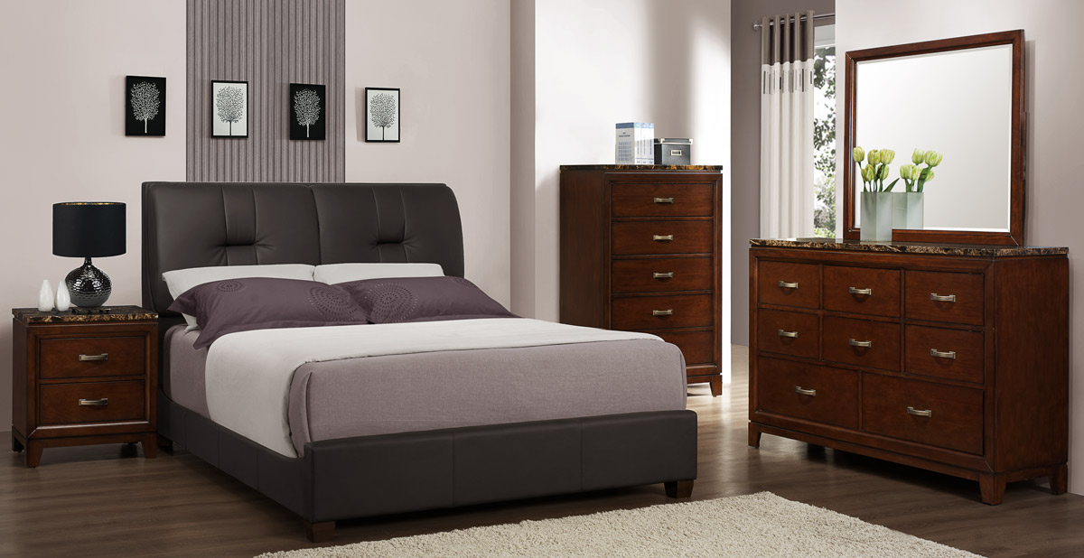 Homelegance Ottowa Bedroom Set - Dark Brown Leatherette