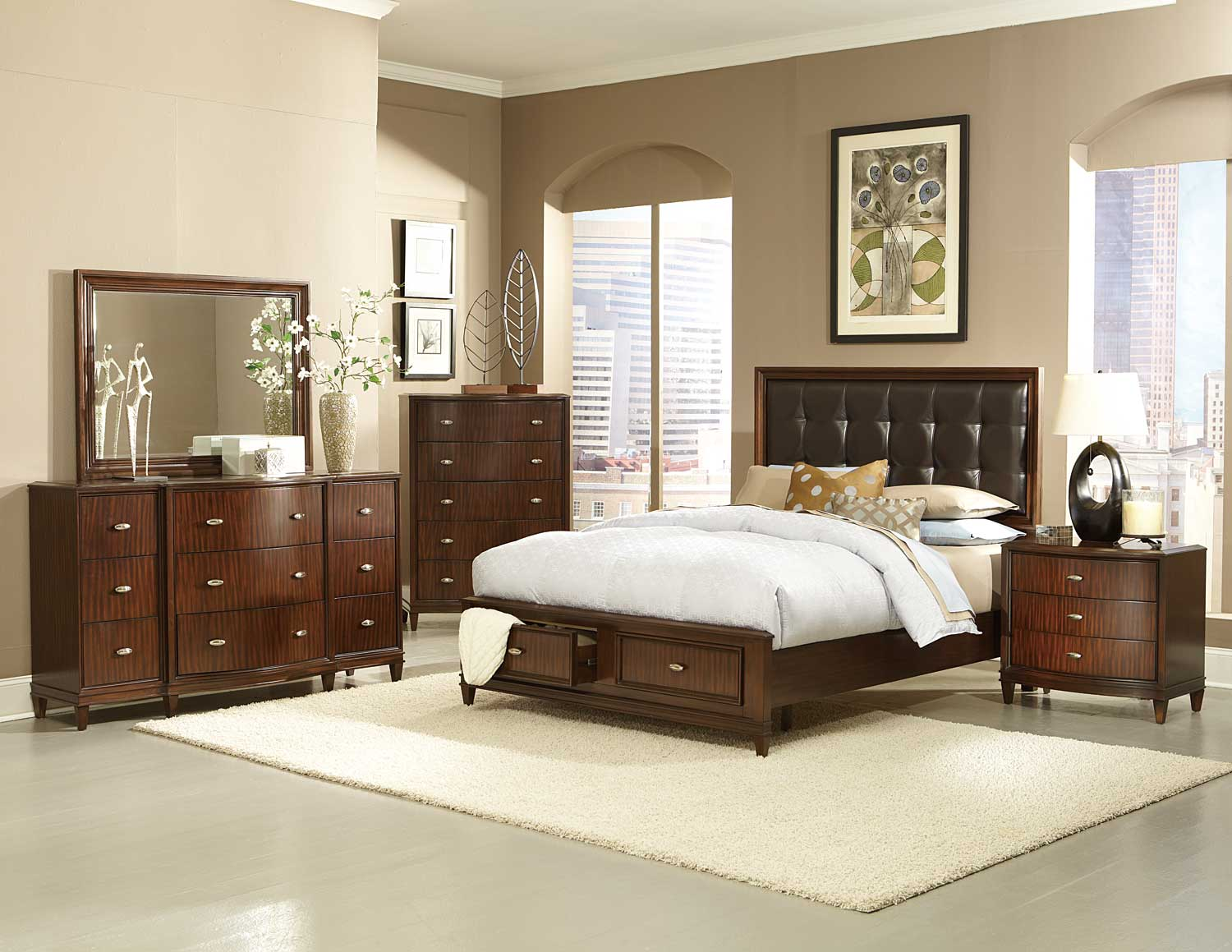 homelegance abramo platfrom bedroom set dark brown b2125db bed set