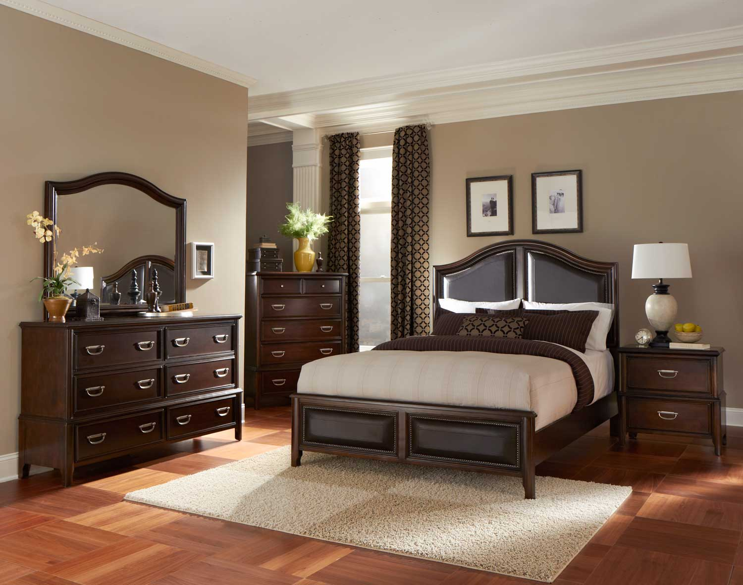 Homelegance Beaux Low Profile Bedroom Set with Vinyl Insert - Dark ...