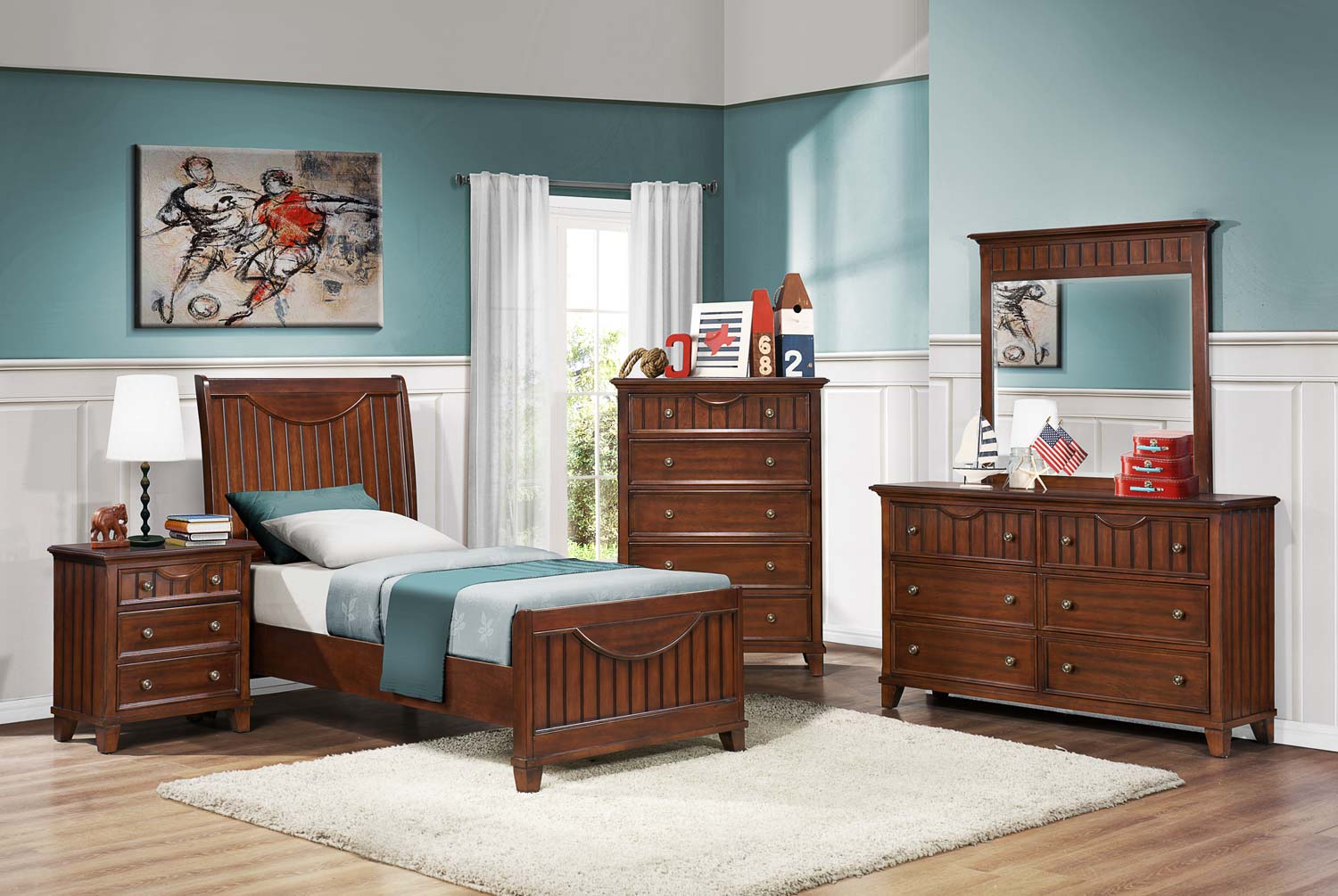 Homelegance alyssa youth bedroom set warm brown cherry for Youth bedroom furniture sets
