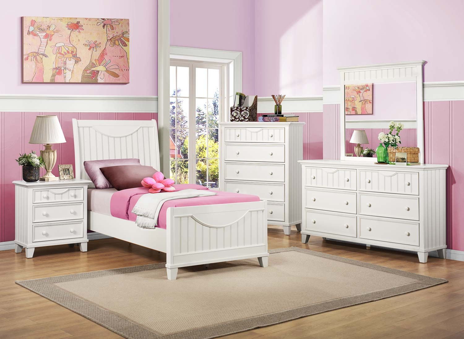 Homelegance Alyssa Youth Bedroom Set - White B2136TW-BED-SET