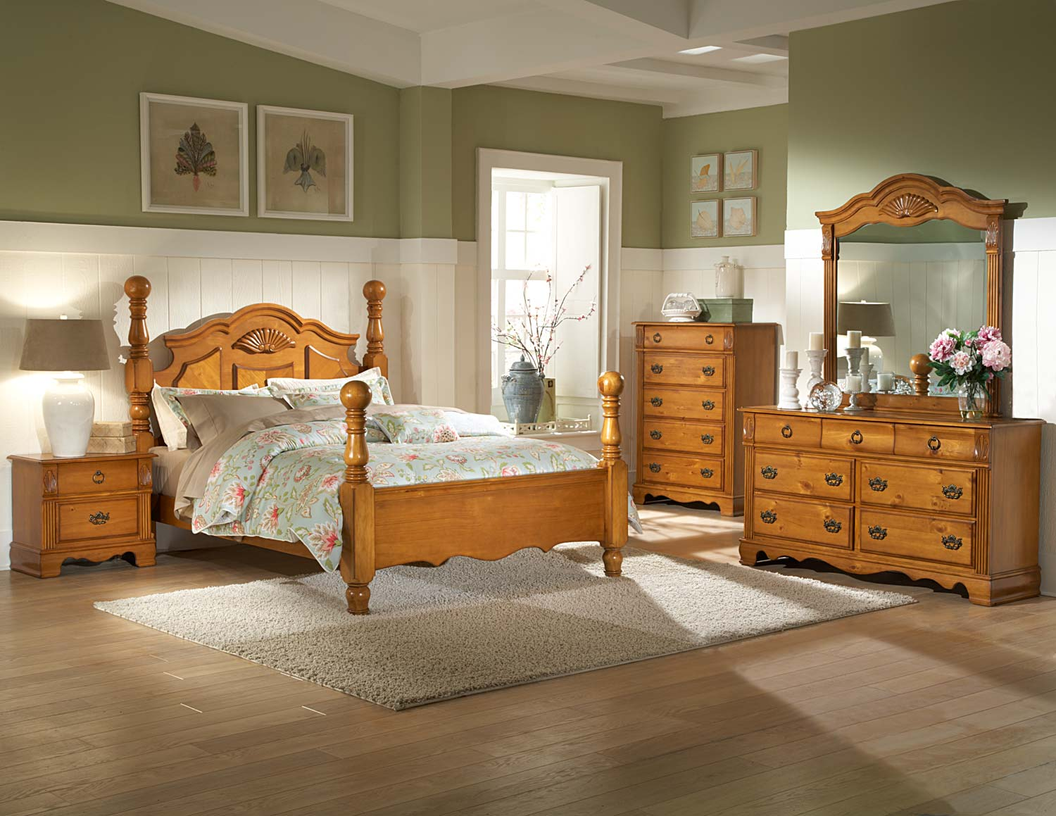 Homelegance archdale bedroom set pine b2139 bed set for Pine furniture