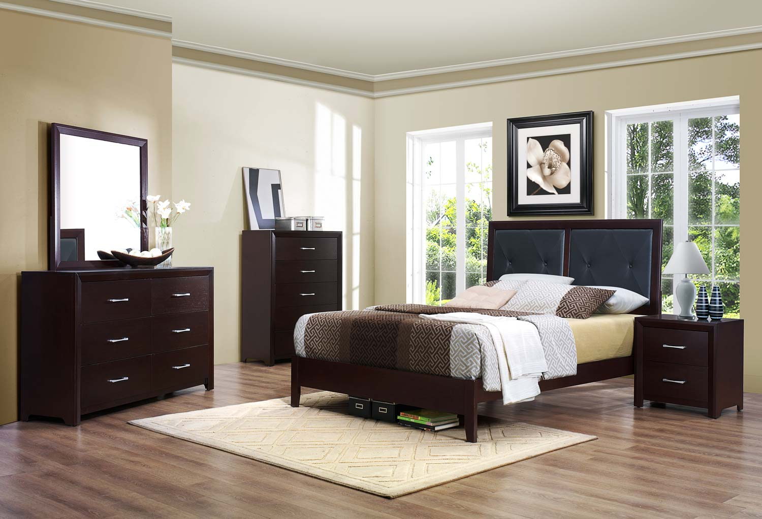 Homelegance Edina Bedroom Set Brown Espresso B2145 BED SET