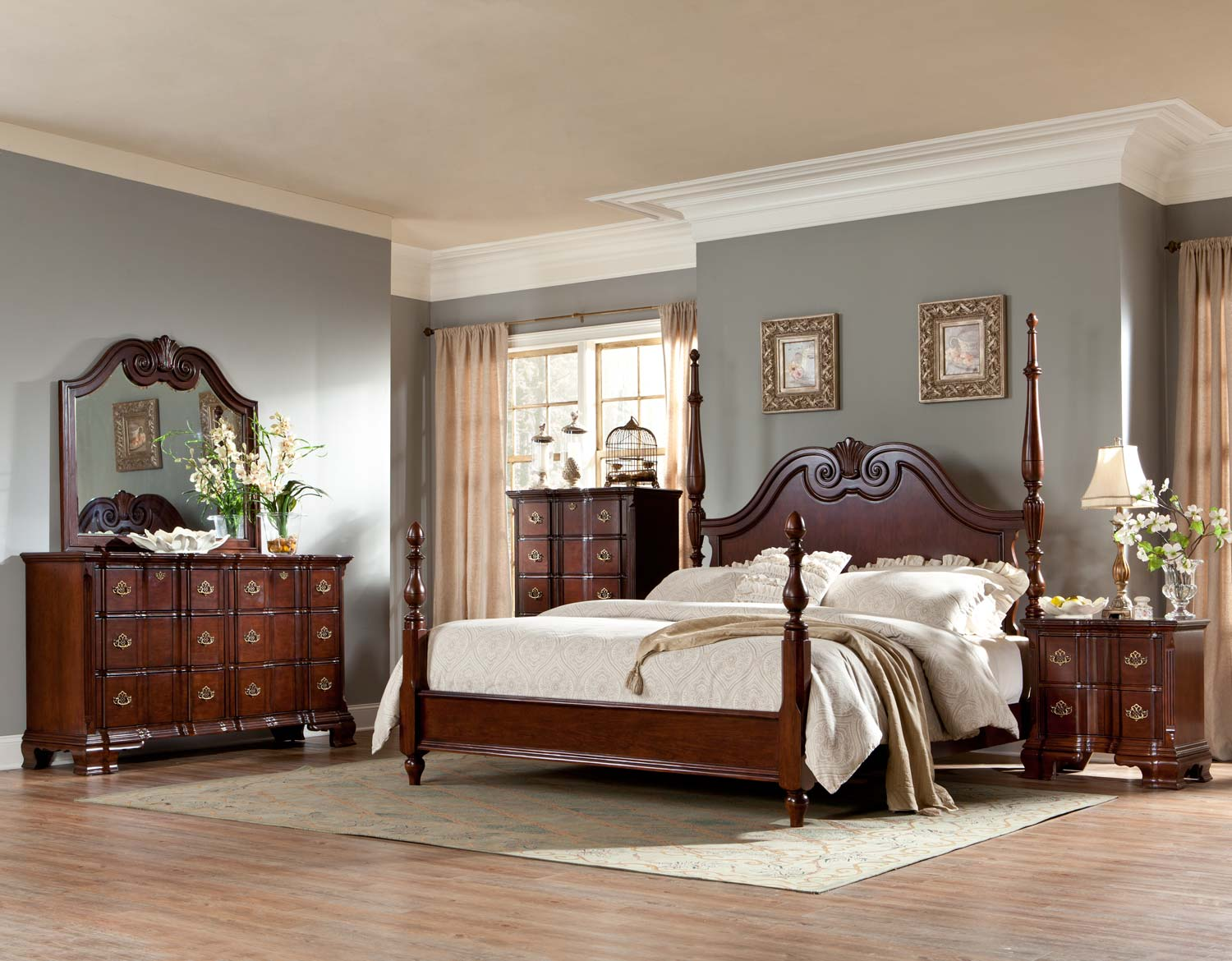 homelegance guilford poster bedroom set brown cherry b2155 1sp bed set. Black Bedroom Furniture Sets. Home Design Ideas