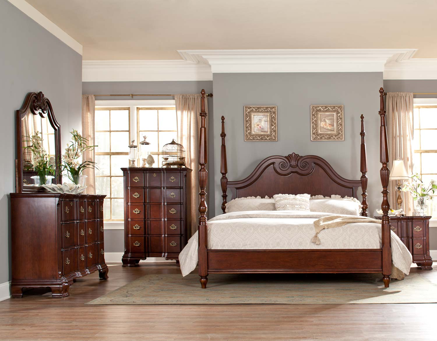 Homelegance Guilford Tall Poster Bedroom Set - Brown Cherry B2155 ...