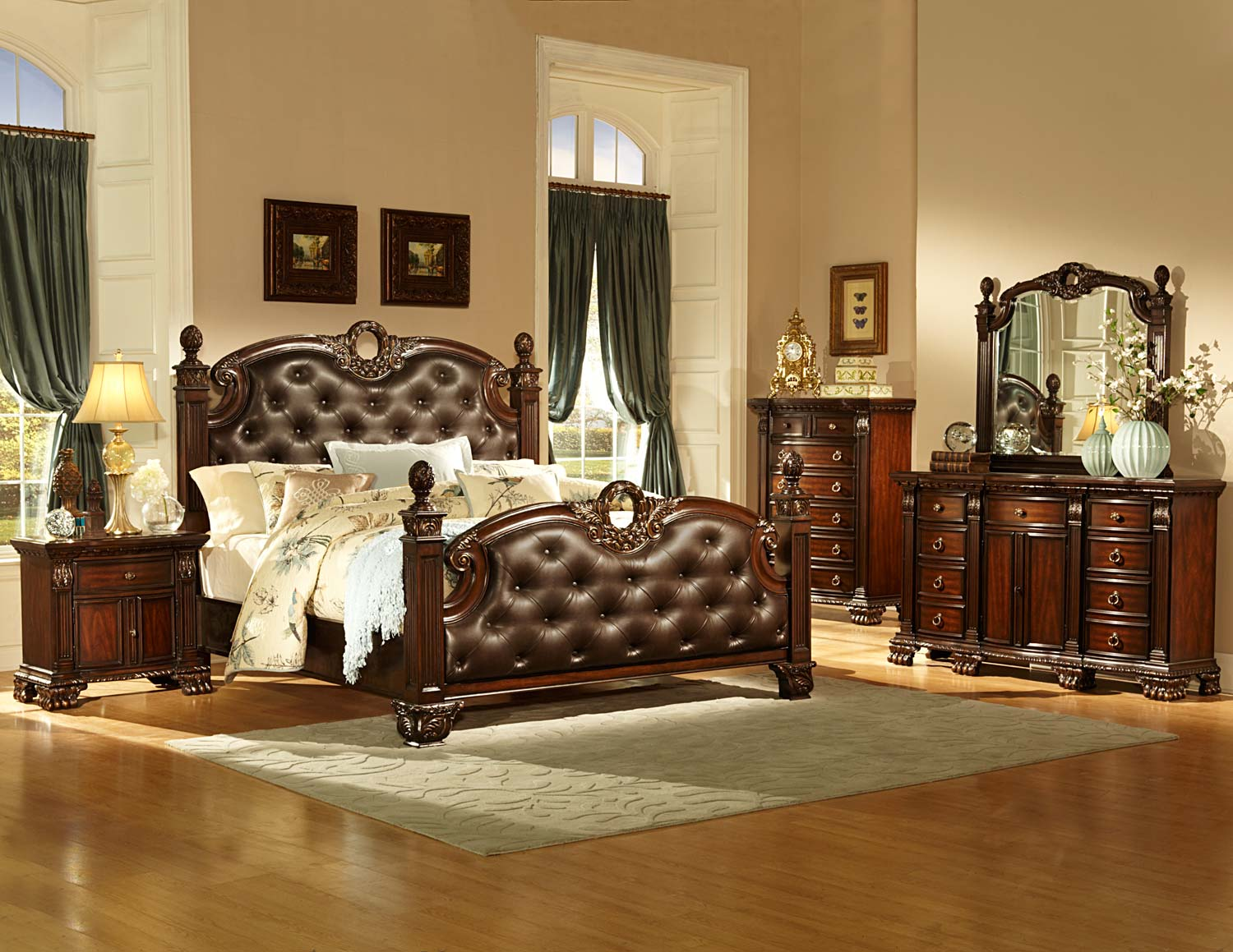 homelegance orleans bedroom set cherry b2168 bed set