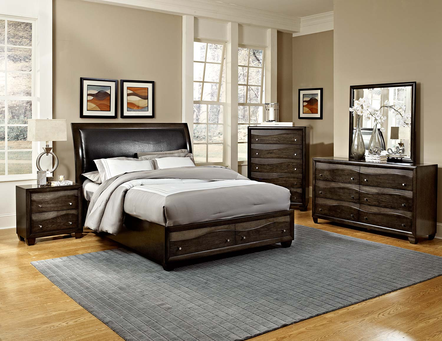 redondo platform bedroom set grey toned brown b2209 bed set