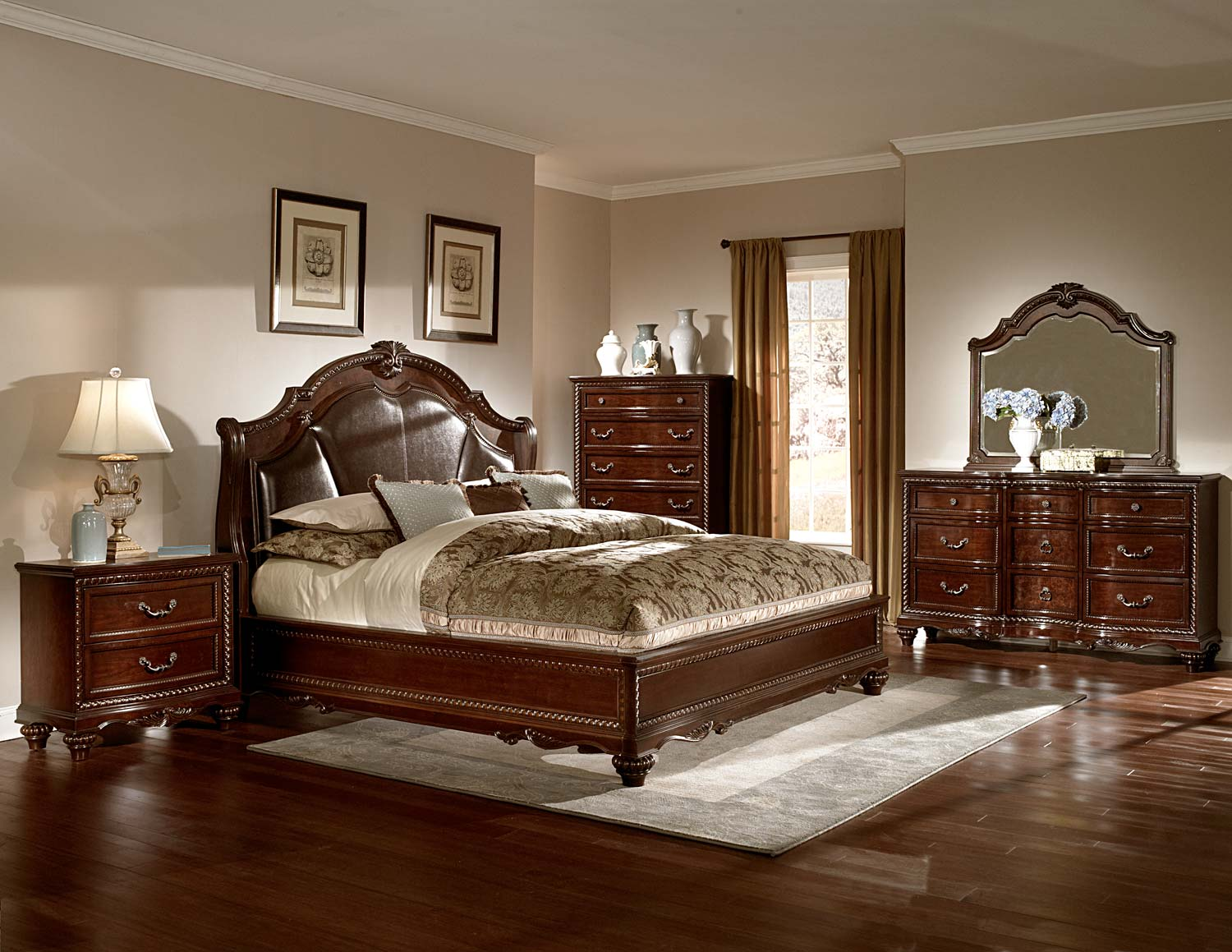 Homelegance hampstead court bedroom set cherry b2214 bed for Bed settings