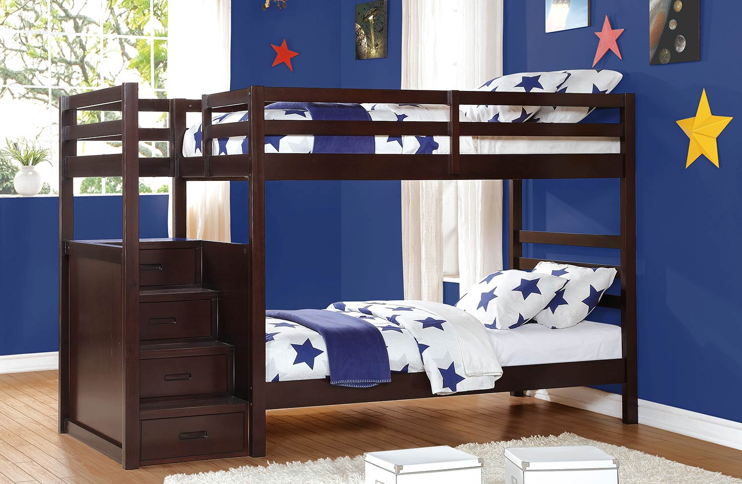 Homelegance Atlas Bunk Bed with Step Storages - Dark Cherry