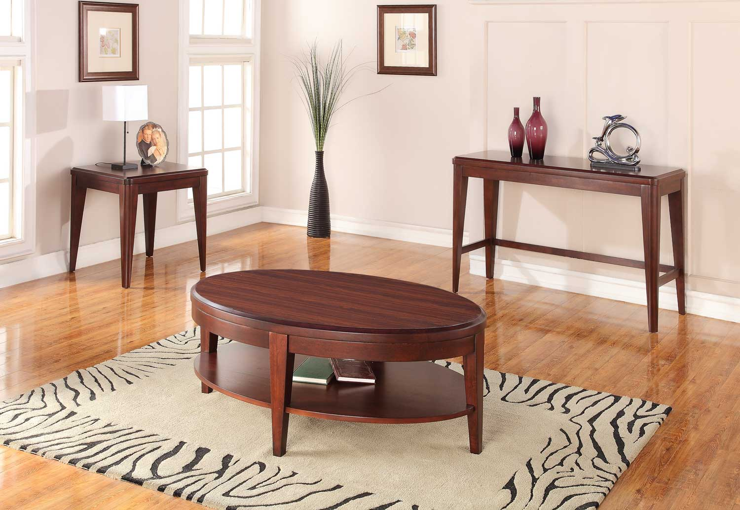 Homelegance Beaumont Occasional Table Set - Brown Cherry
