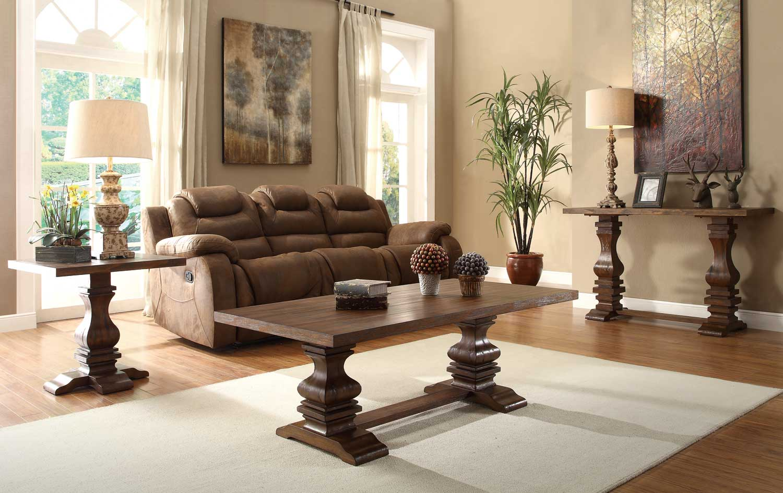 Homelegance Marie Louise Occasional Table Set - Rustic Oak Brown