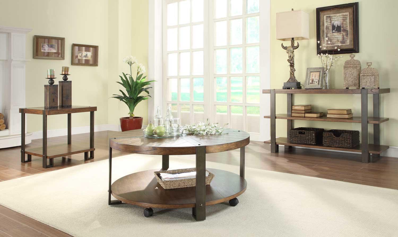 Homelegance Northwood Round Coffee Table Set - Natural Brown