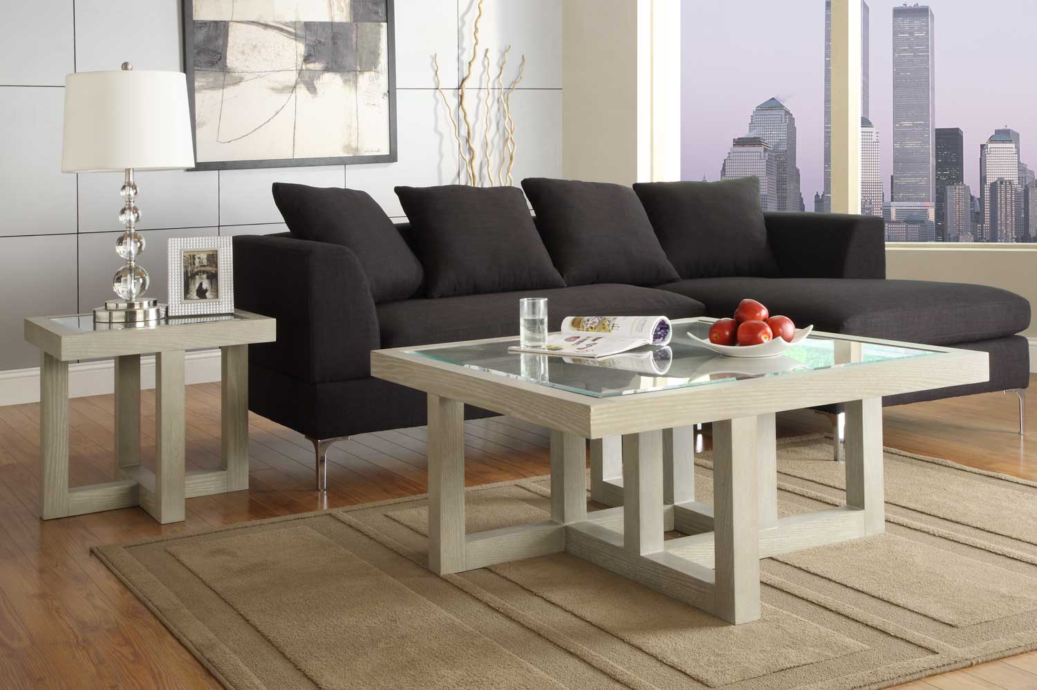 Homelegance Guerrero Square Coffee Table Set Grey