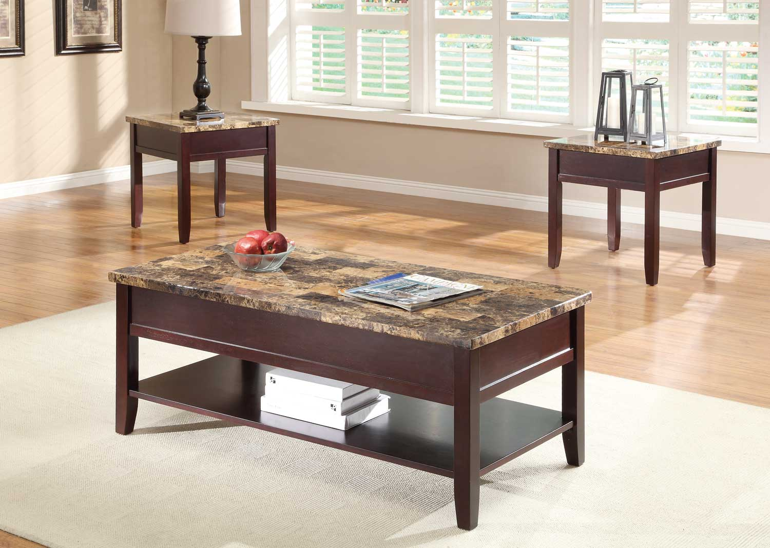 Homelegance Orton Lift Top Cocktail Table Set - Cherry