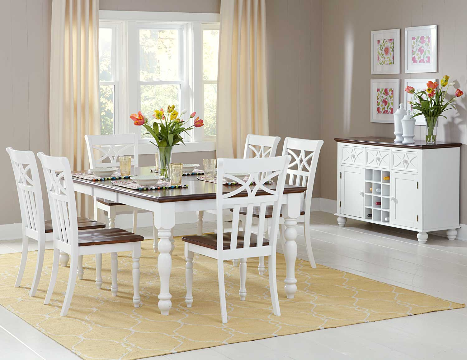 Homelegance Sanibel Dining Set - Cherry/White