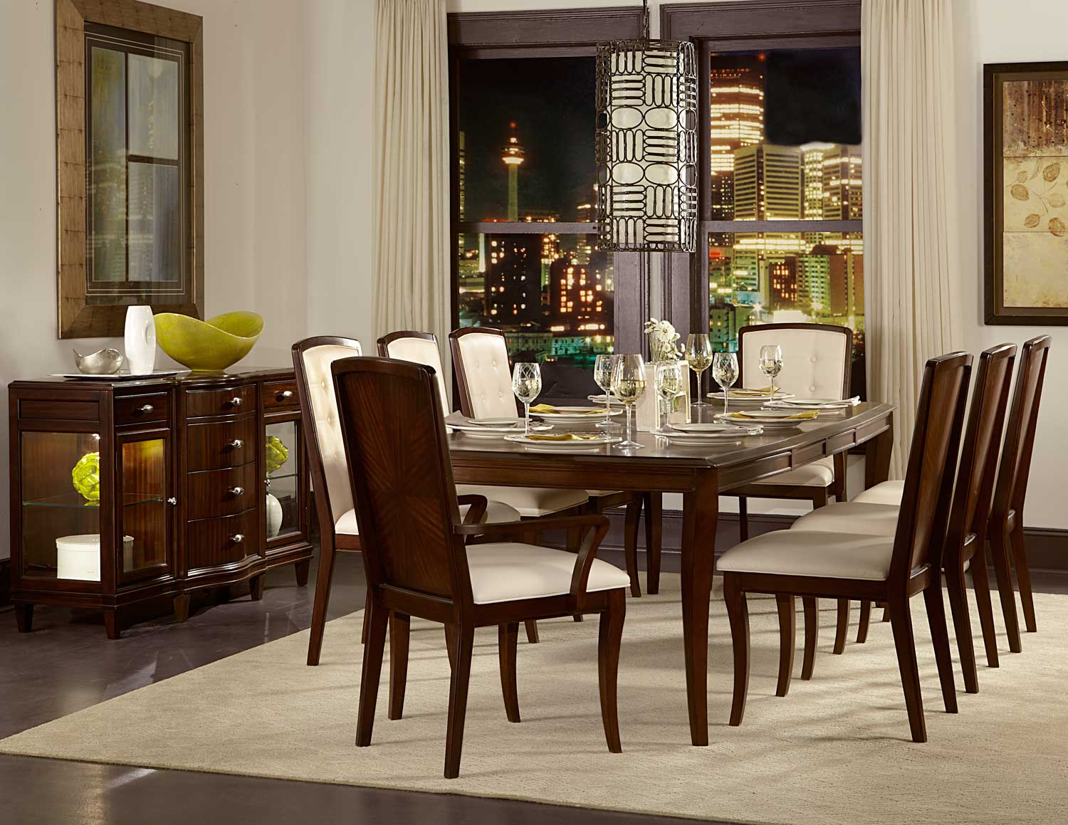 Homelegance Abramo Dining Set - Sapele/Walnut Inlay
