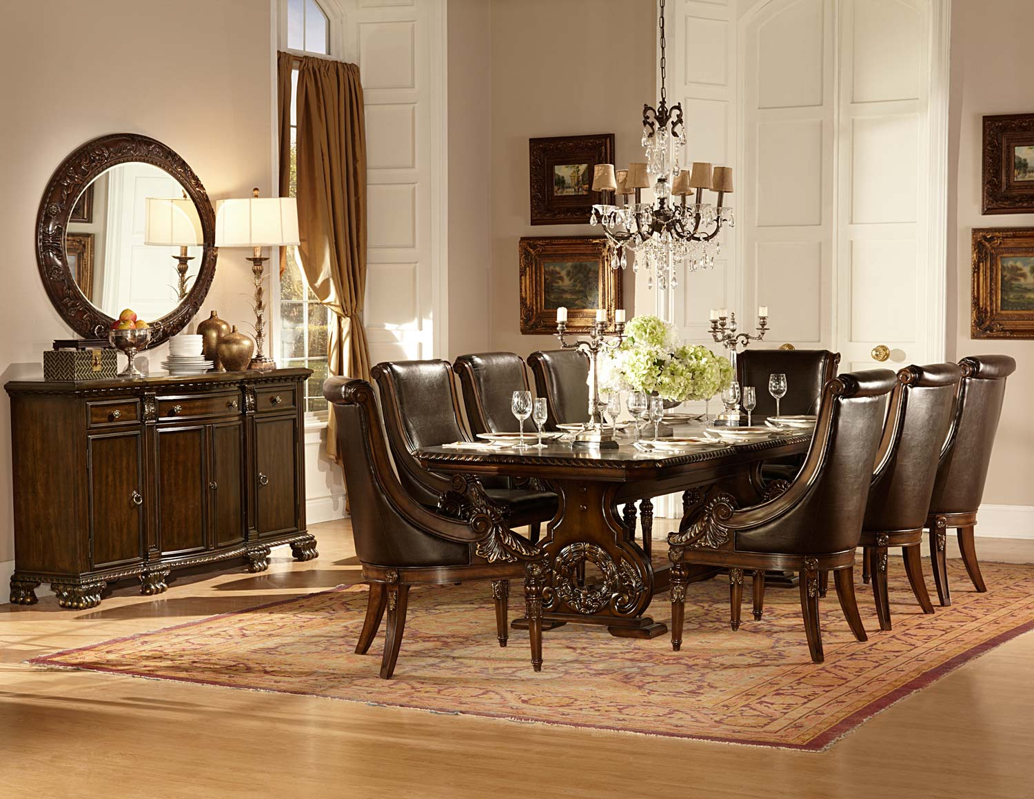 Homelegance Orleans Trestle Dining Set - Cherry