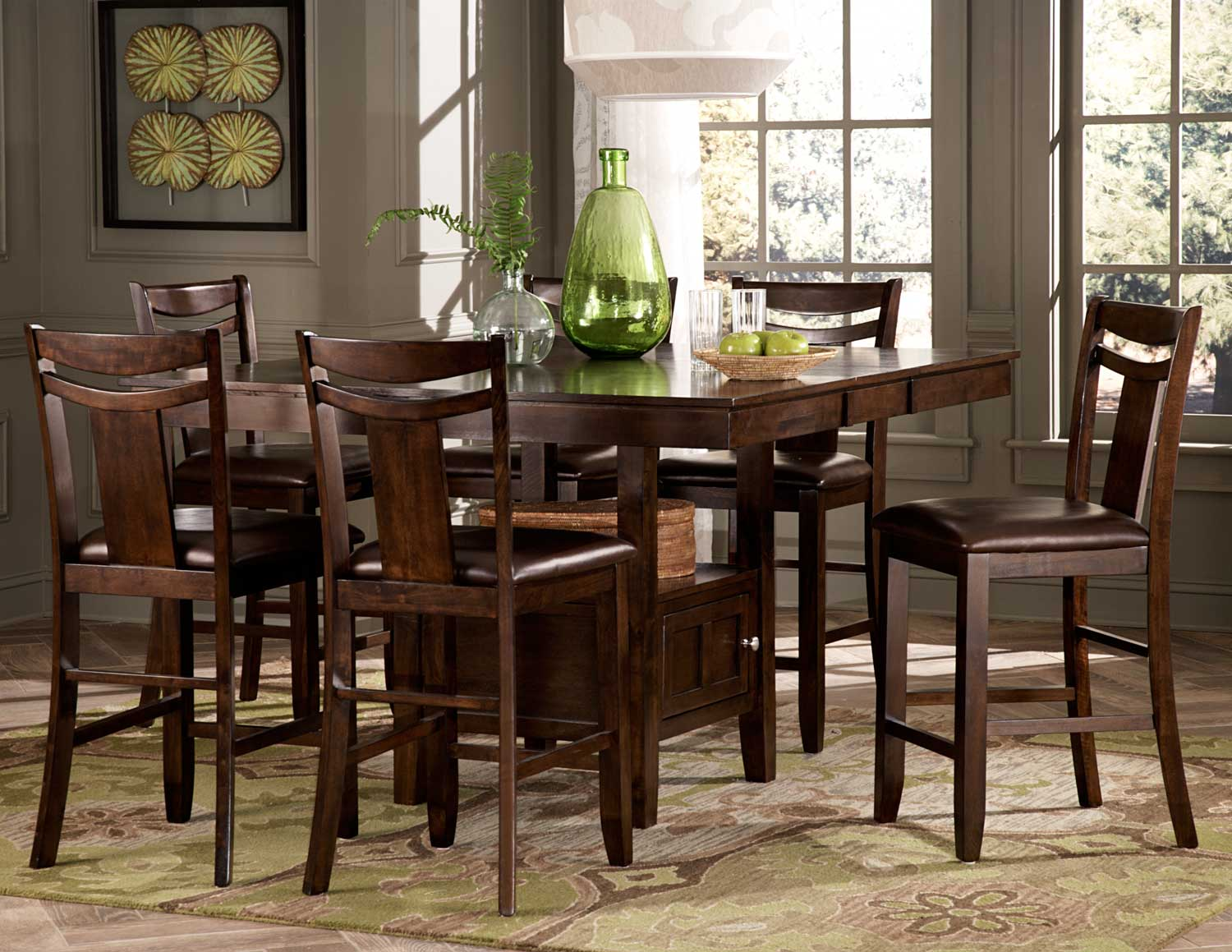 Homelegance broome counter height dining set dark brown for Counter height dining set