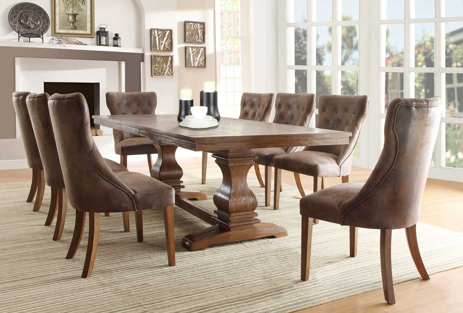 Homelegance Marie Louise Dining Set - Rustic Oak Brown