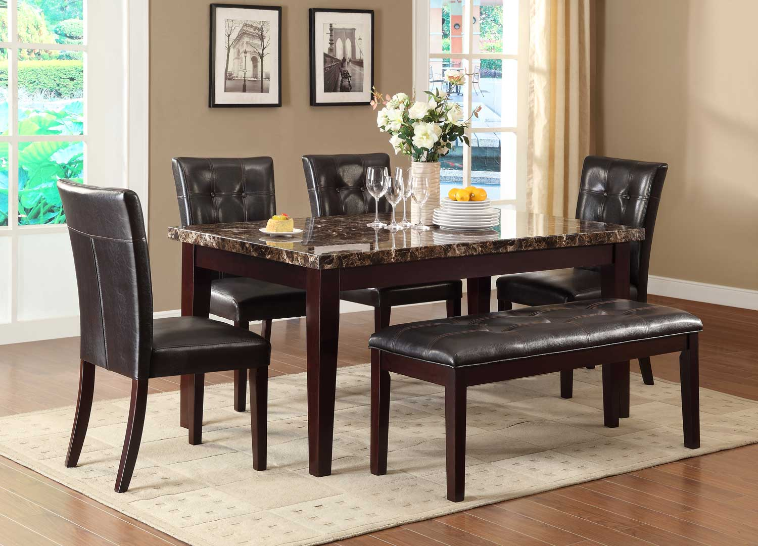 Homelegance Teague Faux Marble Dining Set   Espresso