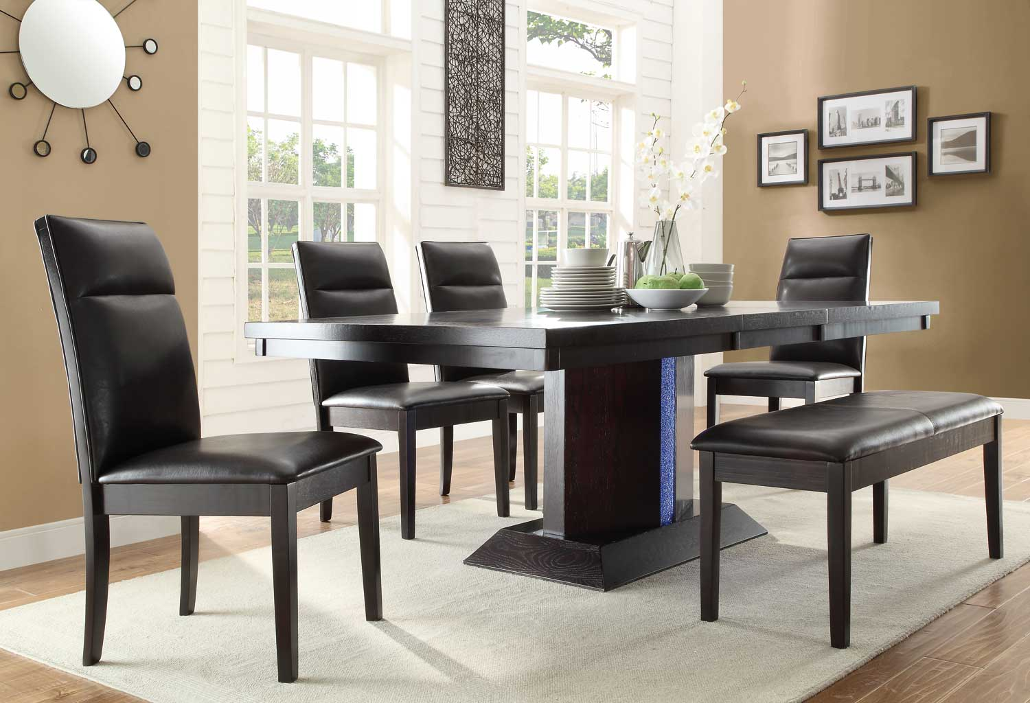 Homelegance Pulse Dining Set With LED Light   Espresso
