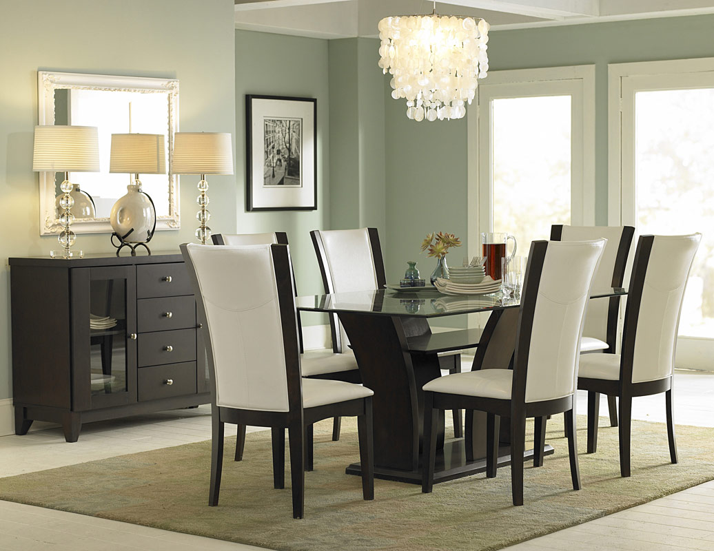 Homelegance Daisy Rectangular Glass Dining Set