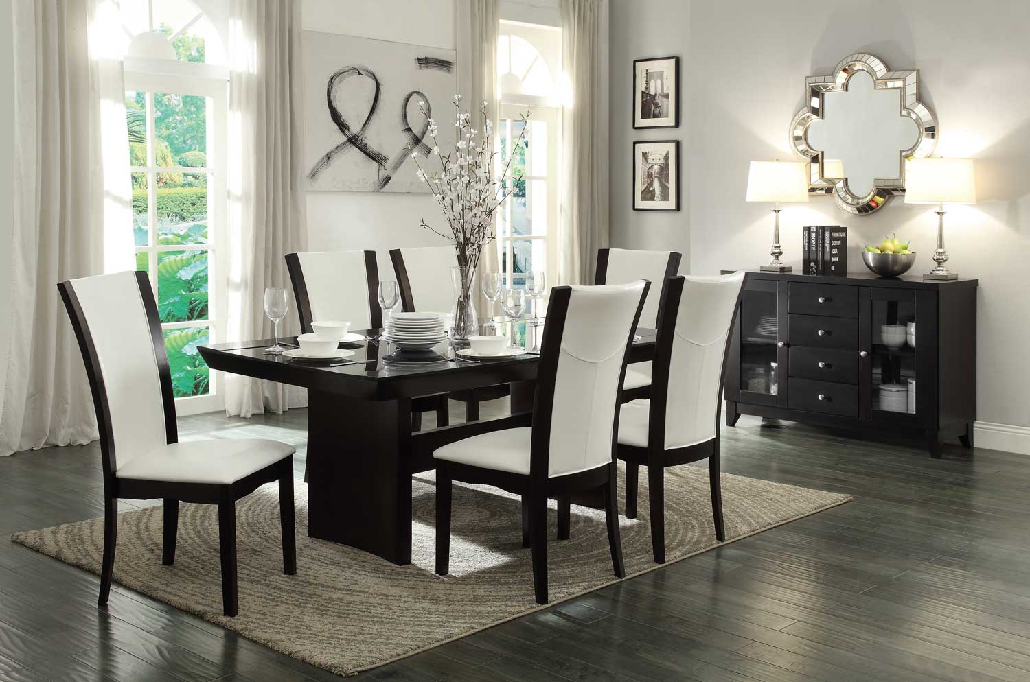 Homelegance Daisy Dining Table with Glass Insert Collection