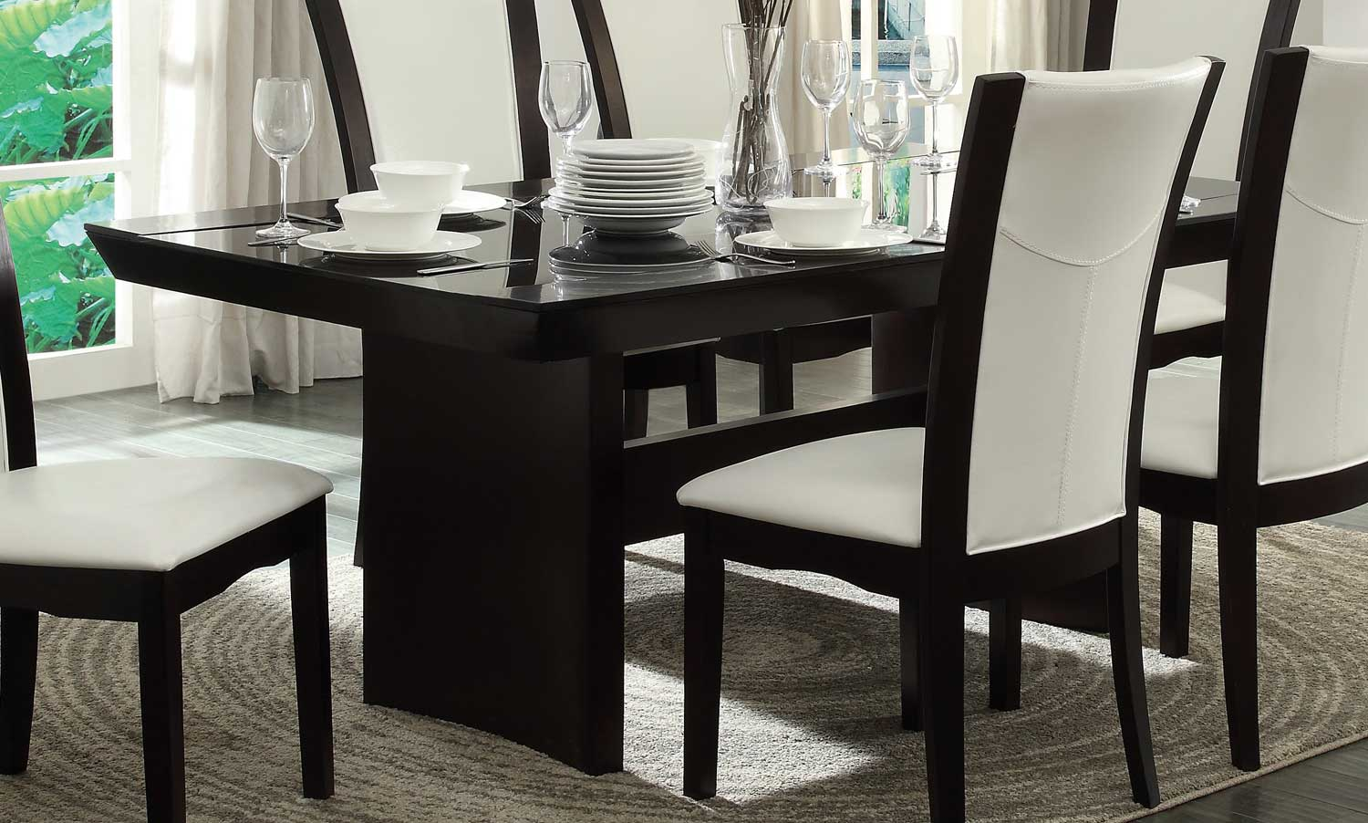 Homelegance Daisy Dining Table with Glass Insert - Espresso