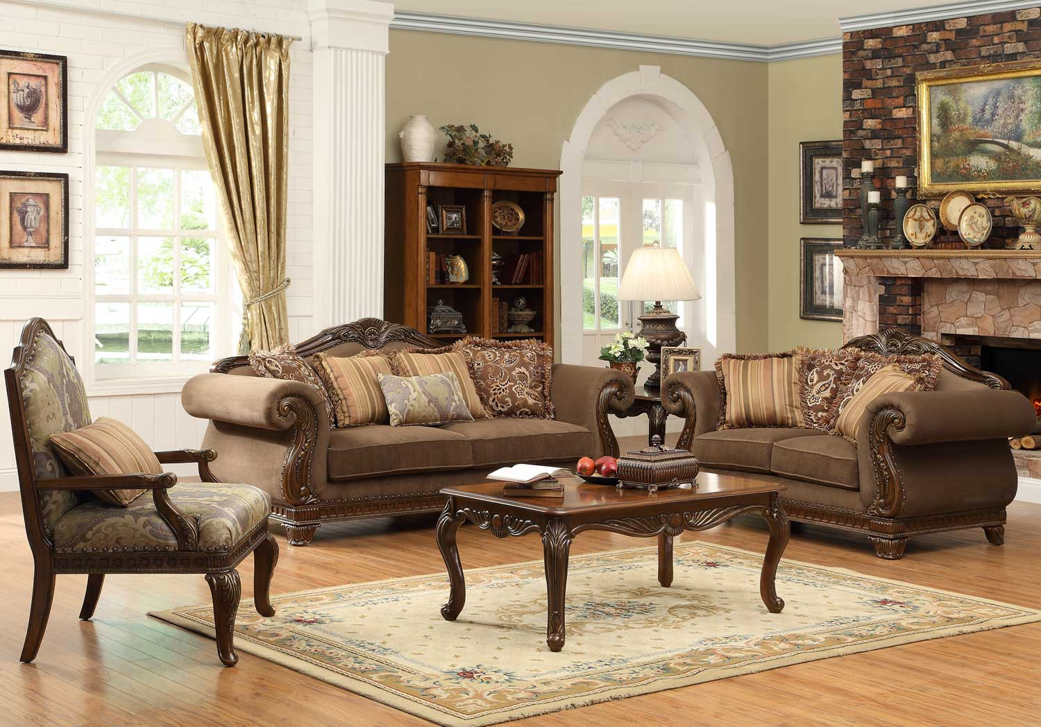 Homelegance lambeth ii sofa set chenille u5699nf 3 for Beautiful living room sets