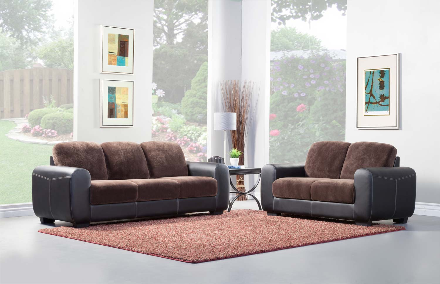 Homelegance Edwin Sofa Set - Chocolate - Textured Plush Microfiber & Bi-Cast Vinyl