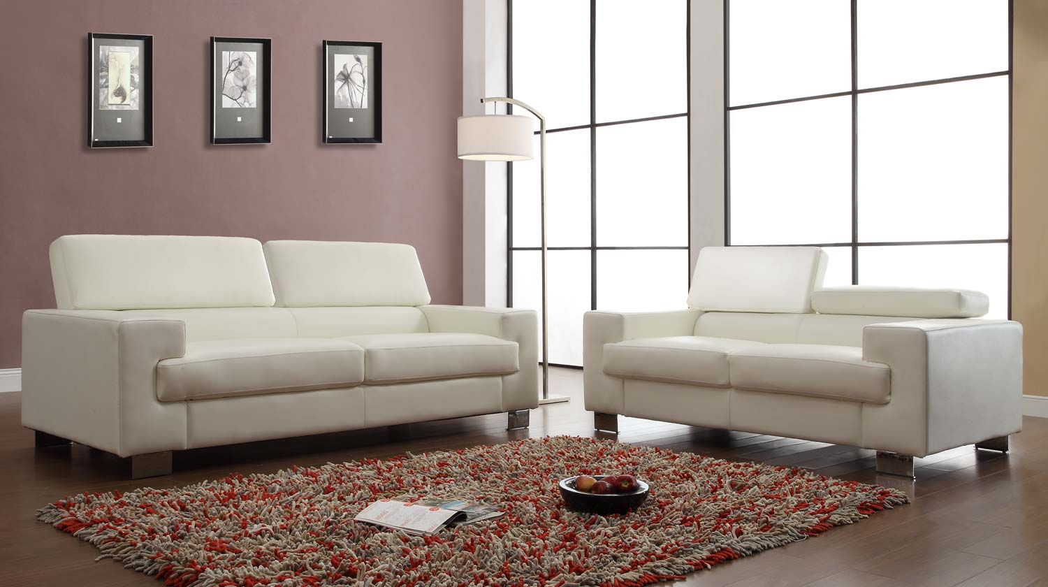 Homelegance Vernon Sofa Set - White - Bonded Leather