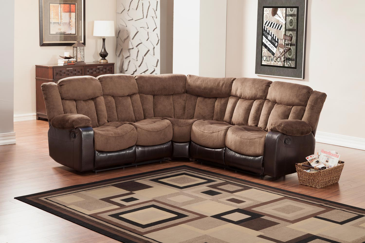 Homelegance vera reclining sectional sofa chocolate for Furniture 2 u