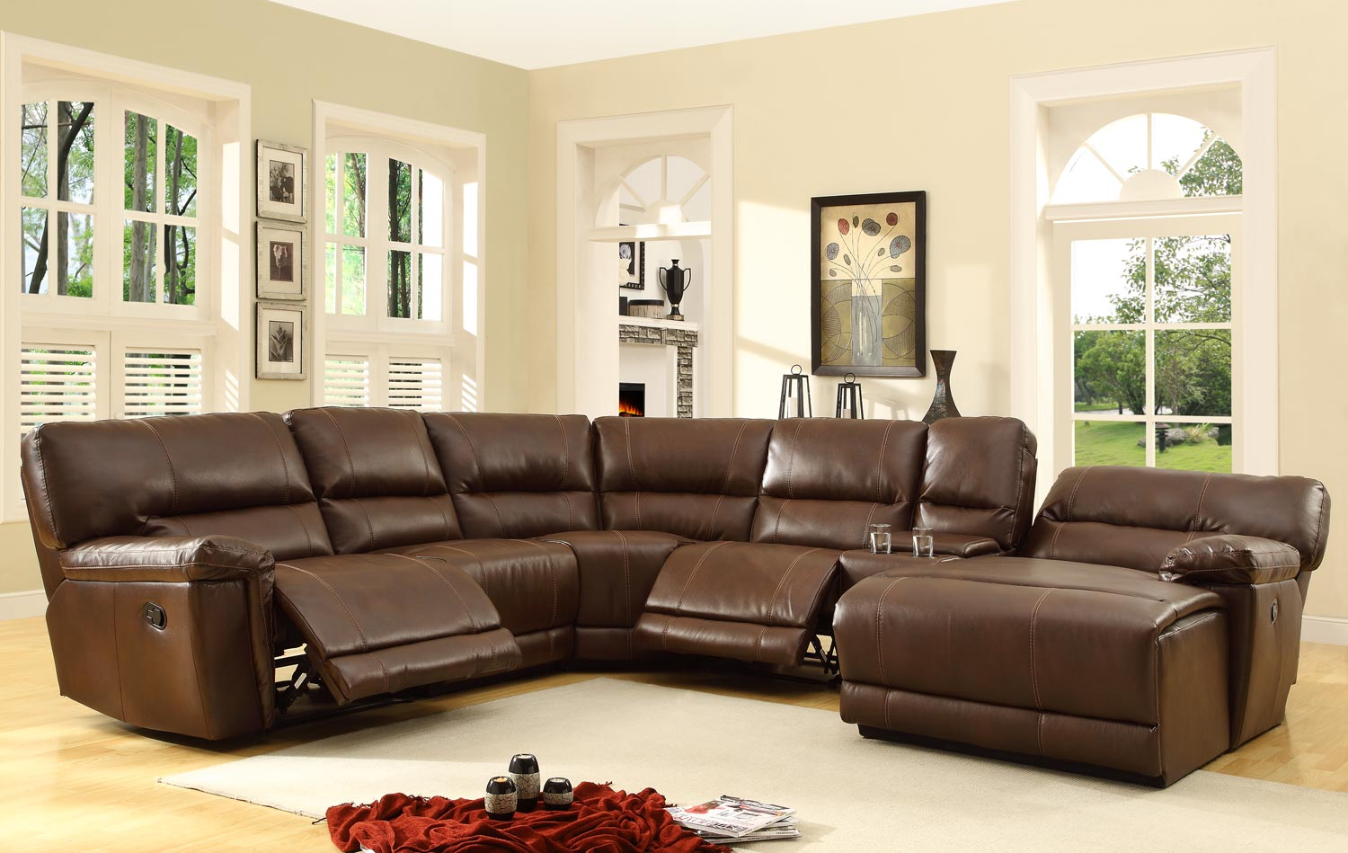 Homelegance Blythe Sectional Sofa Set Brown Bonded Leather