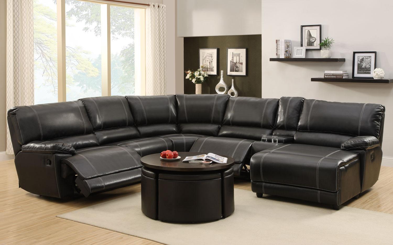 Homelegance Cale Sectional Sofa Set - Black - Bonded Leather Match