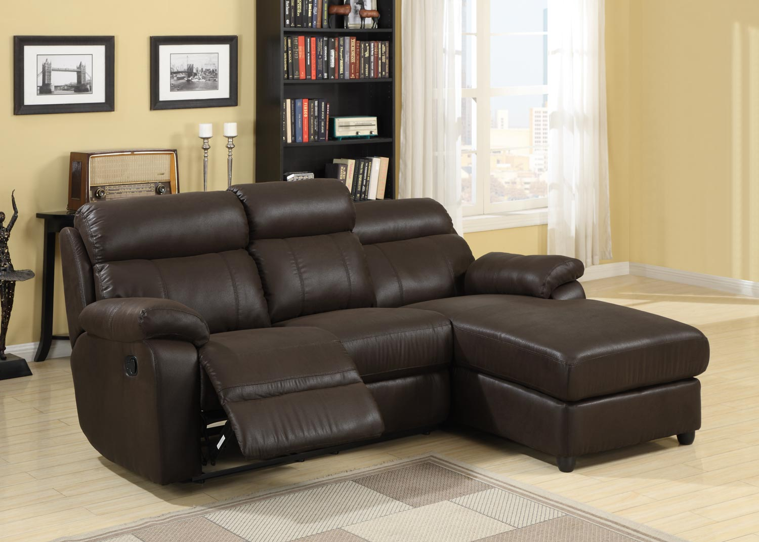 Homelegance gaines sectional sofa brown bomber jacket for Brown microfiber sectional with chaise