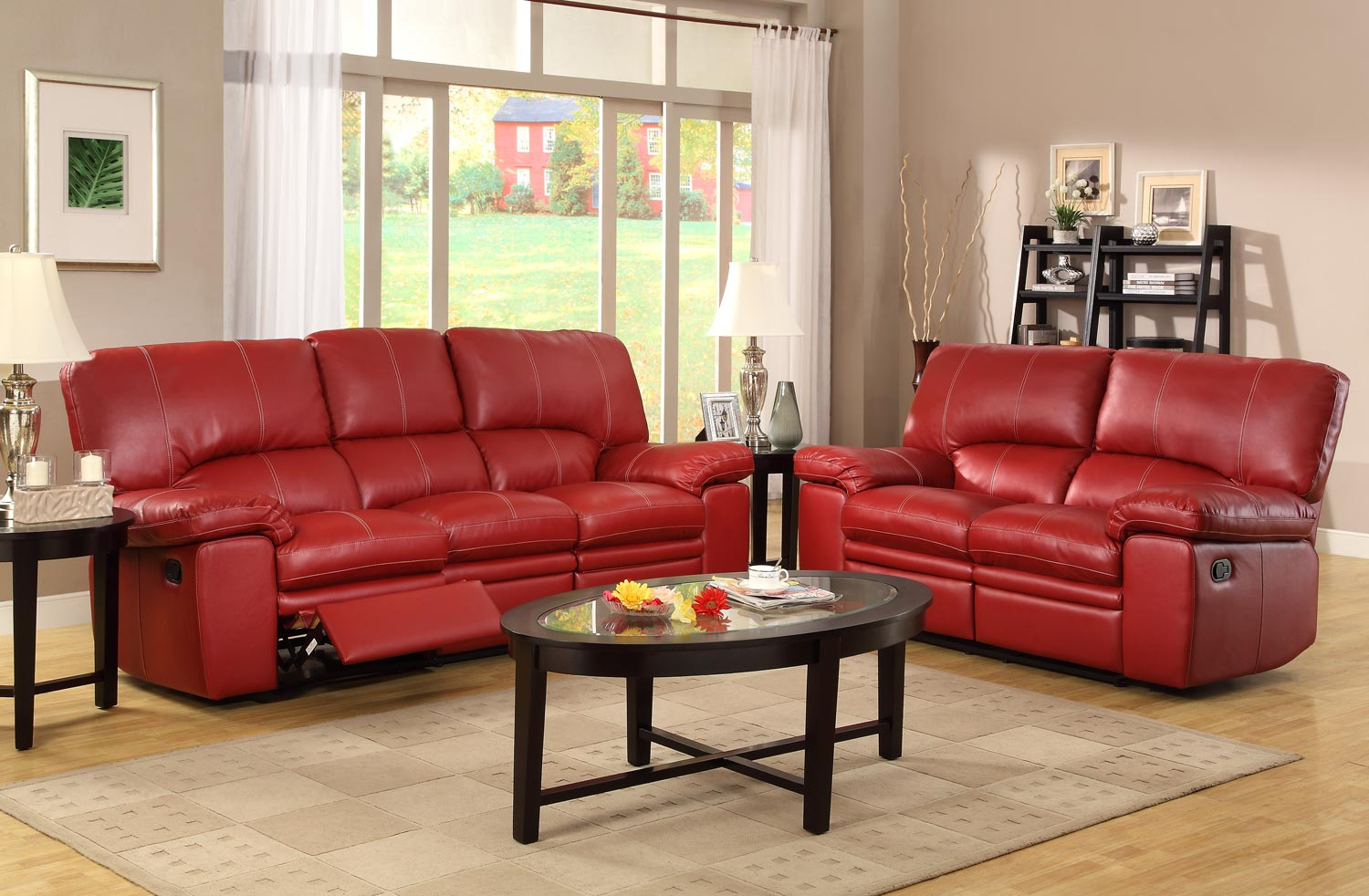 Homelegance kendrick reclining sofa set red bonded for Colorful living room sets