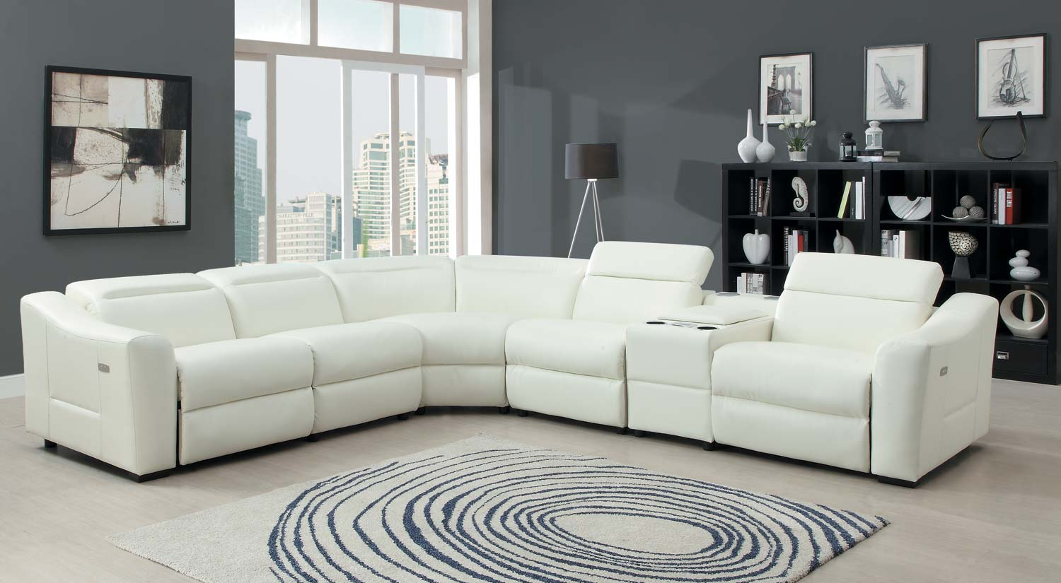 Homelegance instrumental sectional sofa set white bonded leather match u9623 sect Italienische sofa
