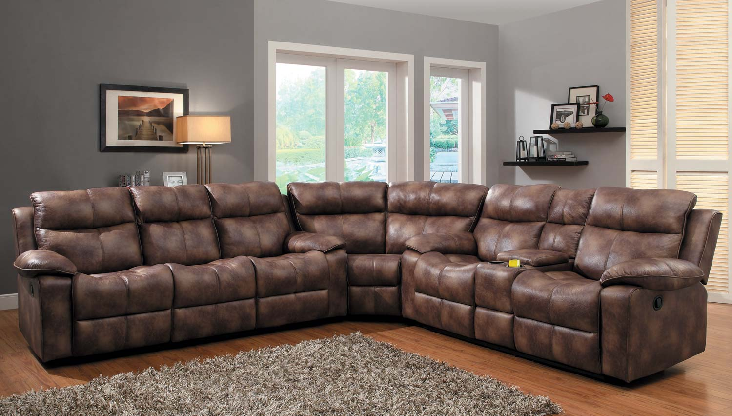 Homelegance brooklyn heights reclining sectional sofa set for Furniture 2 u