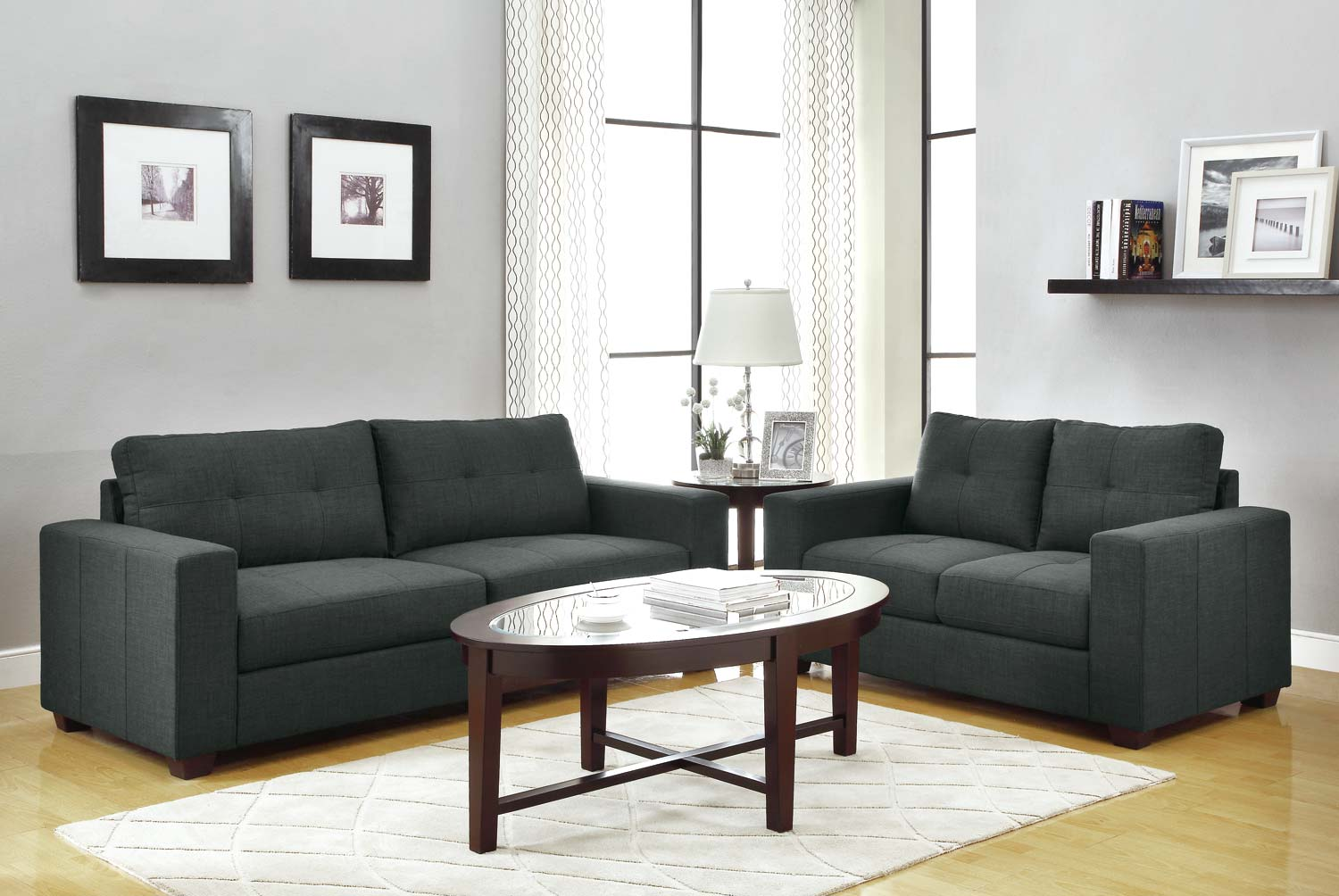 Homelegance Ashmont Sofa Set   Dark Grey   Linen