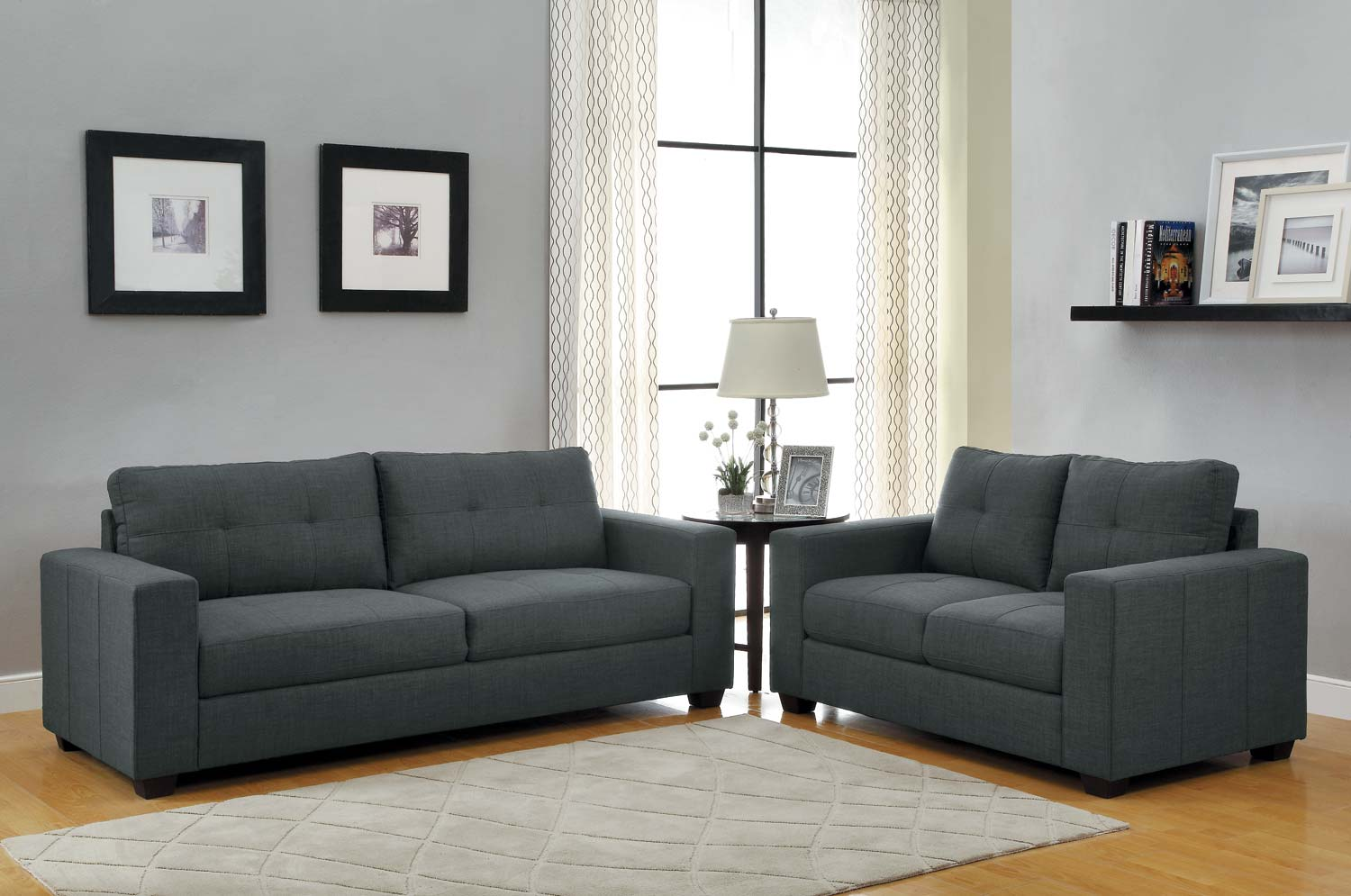 Homelegance Ashmont Sofa Set Dark Grey Linen U9639 3  ~ Dark Gray Sofa Living Room