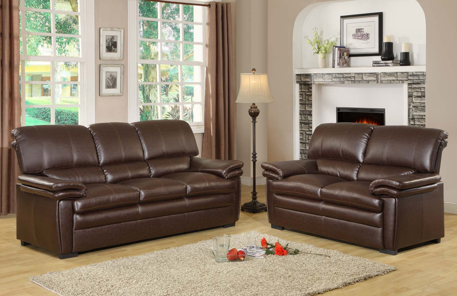Homelegance Constance Sofa Set - Brown - Bonded Leather Match