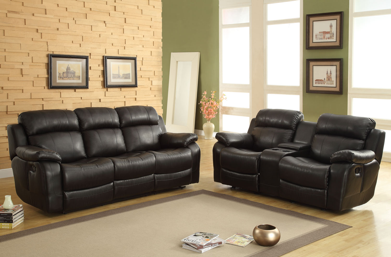 Homelegance Marille Reclining Sofa Set Black Bonded Leather Match