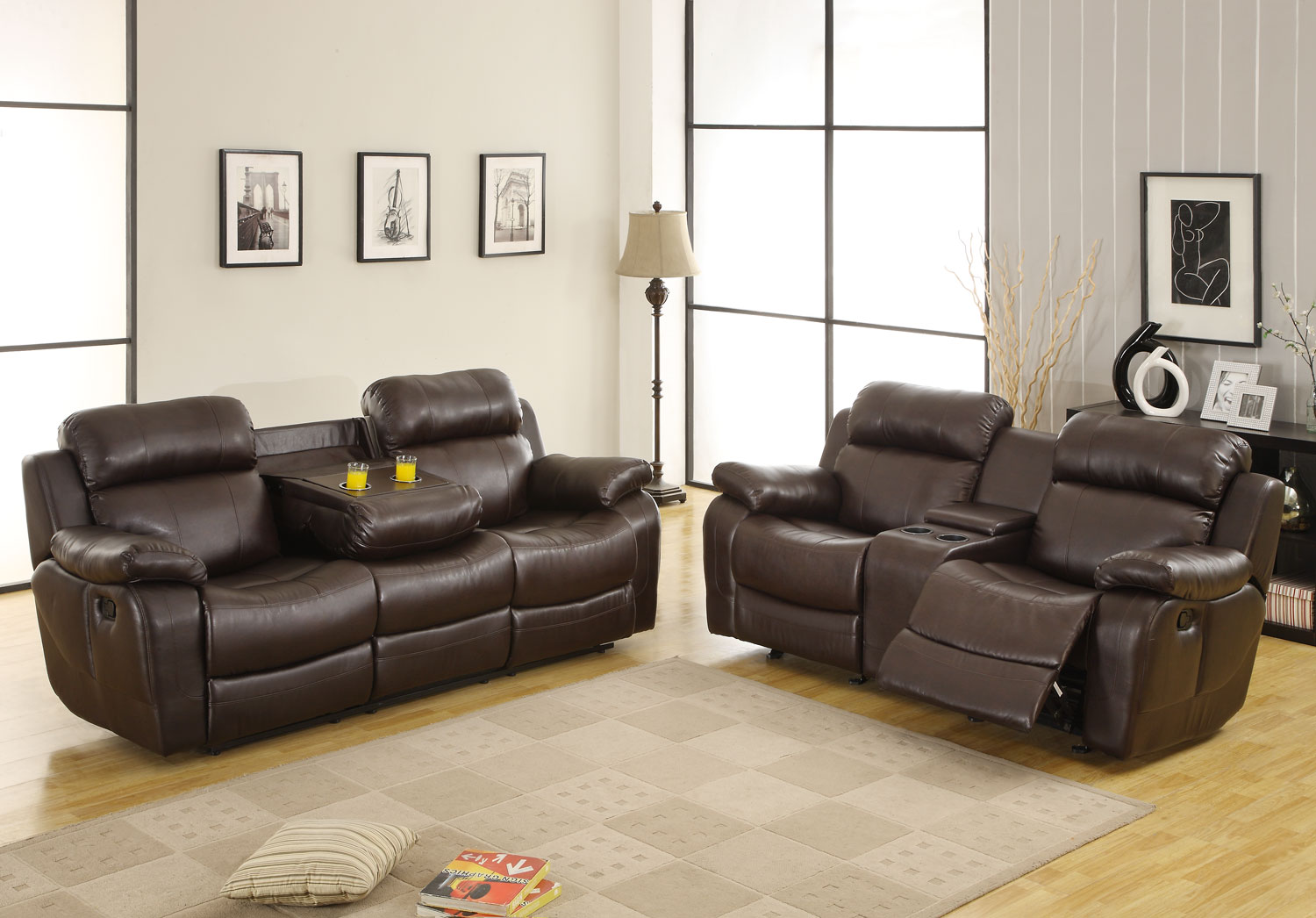 Homelegance Marille Reclining Sofa Set - Dark Brown - Bonded Leather Match