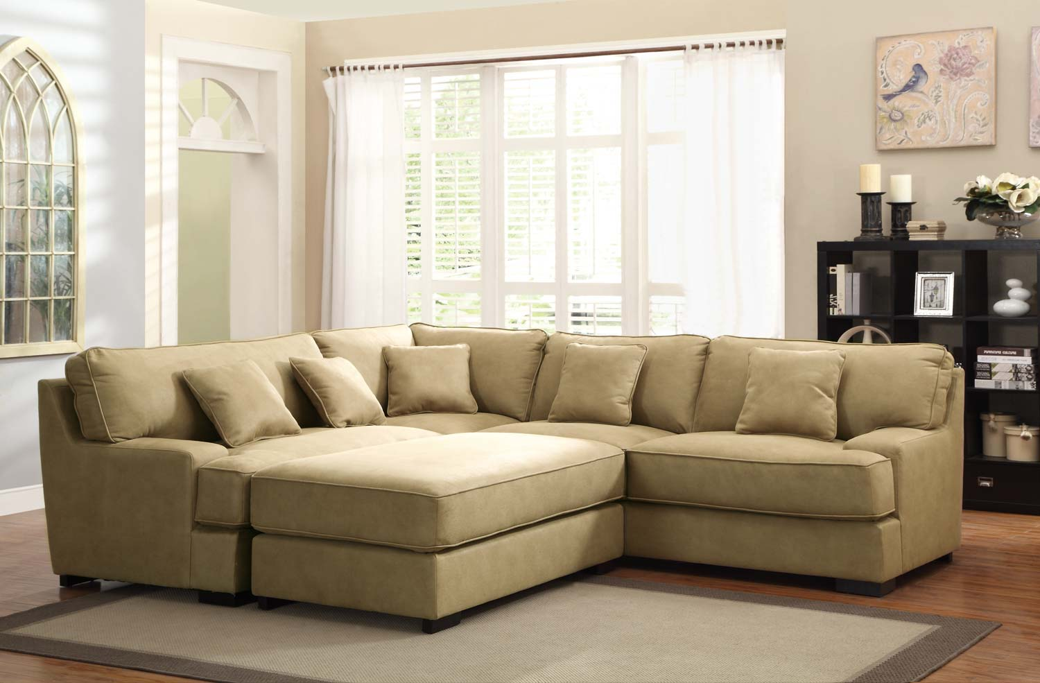 Homelegance minnis sectional sofa set beige u9759nf sect for Beiges sofa welche wandfarbe