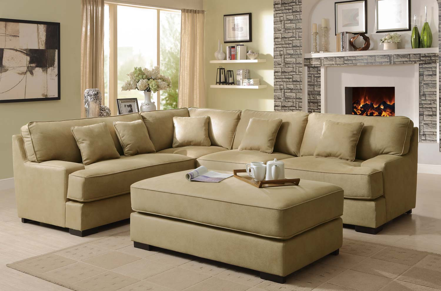 Homelegance minnis sectional sofa set beige u9759nf sect Light colored living room sets