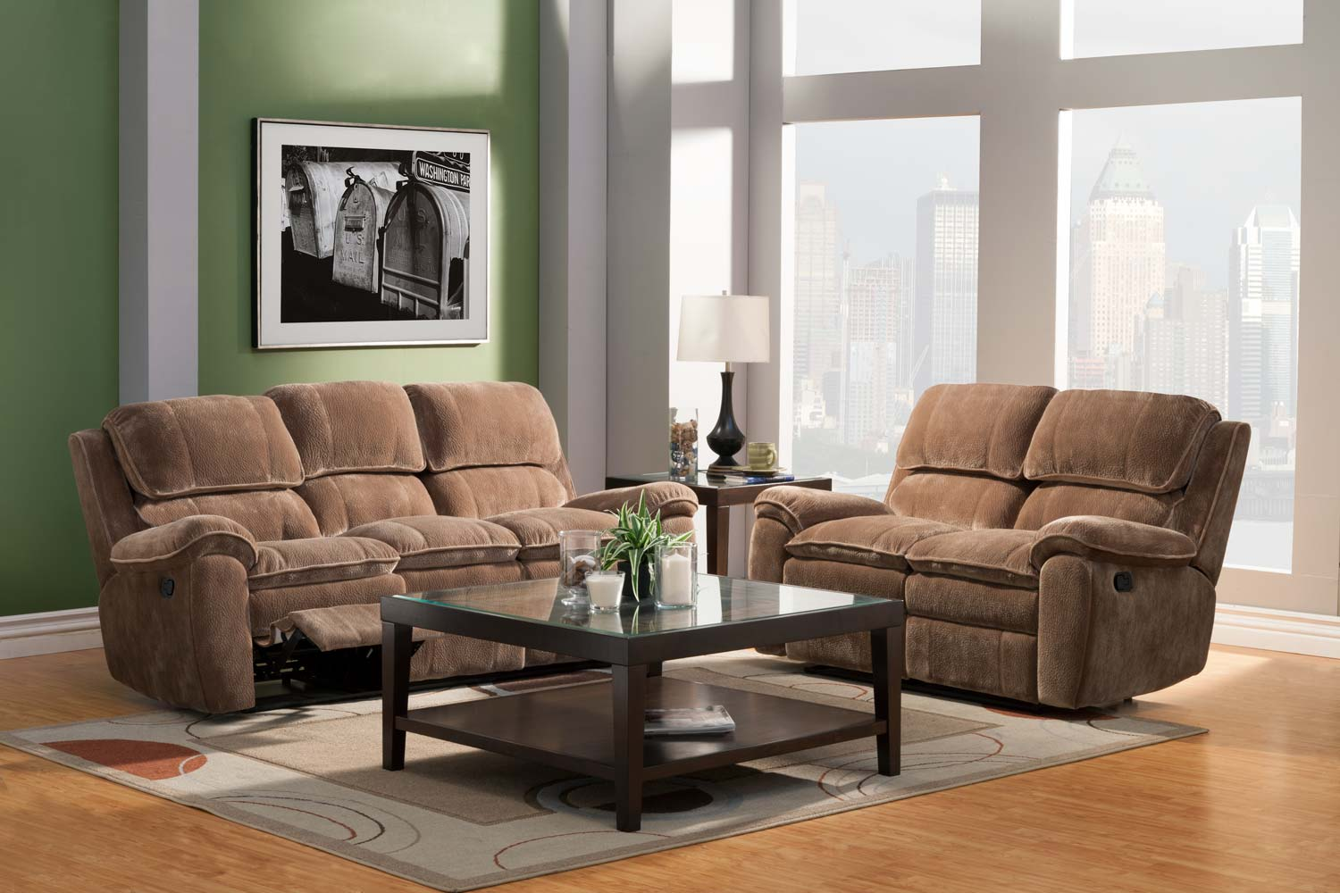 Homelegance Reilly Reclining Sofa Set - Brown - Textured Plush Microfiber